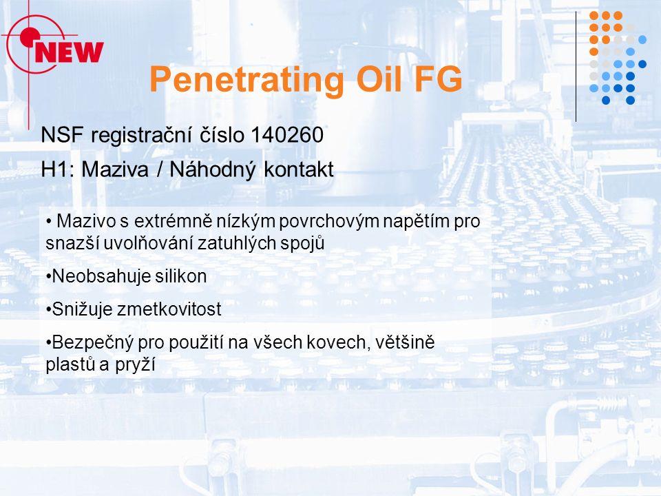 Penetrating Oil FG NSF registrační číslo 140260 H1: Maziva / Náhodný kontakt Mazivo s extrémně nízkým povrchovým napětím pro snazší uvolňování zatuhlých spojů Neobsahuje silikon Snižuje zmetkovitost Bezpečný pro použití na všech kovech, většině plastů a pryží