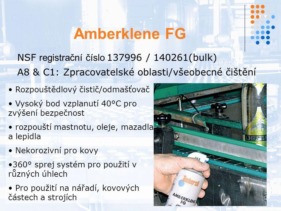 Amberklene FG NSF registrační číslo 137996 / 140261(bulk) A8 & C1: Zpracovatelské oblasti/všeobecné čištění Rozpouštědlový čistič/odmašťovač Vysoký bod vzplanutí 40°C pro zvýšení bezpečnost rozpouští mastnotu, oleje, mazadla a lepidla Nekorozivní pro kovy 360° sprej systém pro použití v různých úhlech Pro použití na nářadí, kovových částech a strojích