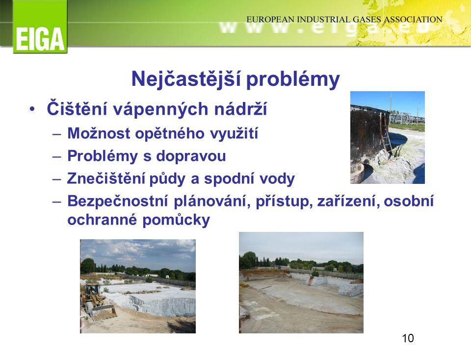 Nejčastější problémy Čištění vápenných nádrží –Možnost opětného využití –Problémy s dopravou –Znečištění půdy a spodní vody –Bezpečnostní plánování, přístup, zařízení, osobní ochranné pomůcky 10