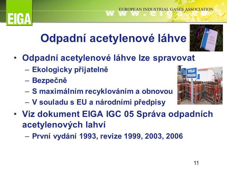 Odpadní acetylenové láhve Odpadní acetylenové láhve lze spravovat –Ekologicky přijatelně –Bezpečně –S maximálním recyklováním a obnovou –V souladu s EU a národními předpisy Viz dokument EIGA IGC 05 Správa odpadních acetylenových lahví –První vydání 1993, revize 1999, 2003, 2006 11