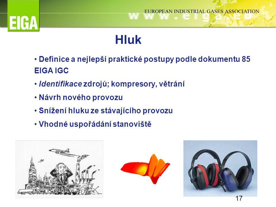 Hluk Definice a nejlepší praktické postupy podle dokumentu 85 EIGA IGC Identifikace zdrojů; kompresory, větrání Návrh nového provozu Snížení hluku ze stávajícího provozu Vhodné uspořádání stanoviště 17