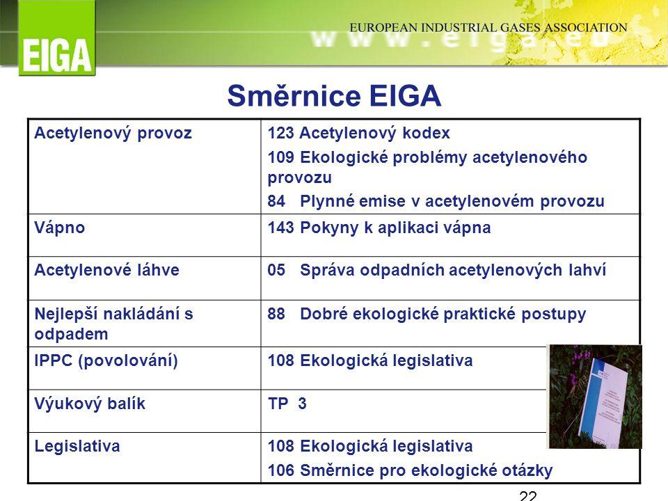 Směrnice EIGA Acetylenový provoz123 Acetylenový kodex 109 Ekologické problémy acetylenového provozu 84 Plynné emise v acetylenovém provozu Vápno143 Pokyny k aplikaci vápna Acetylenové láhve05 Správa odpadních acetylenových lahví Nejlepší nakládání s odpadem 88 Dobré ekologické praktické postupy IPPC (povolování)108 Ekologická legislativa Výukový balíkTP 3 Legislativa108 Ekologická legislativa 106 Směrnice pro ekologické otázky 22