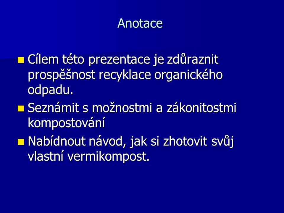 Anotace Cílem této prezentace je zdůraznit prospěšnost recyklace organického odpadu.