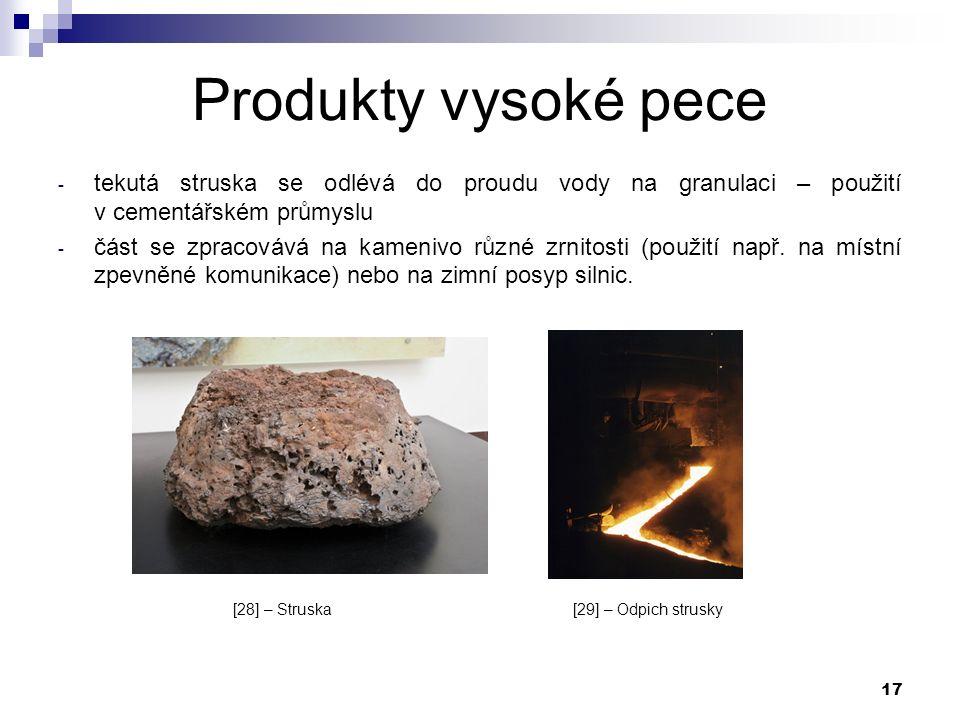 17 Produkty vysoké pece - tekutá struska se odlévá do proudu vody na granulaci – použití v cementářském průmyslu - část se zpracovává na kamenivo různé zrnitosti (použití např.