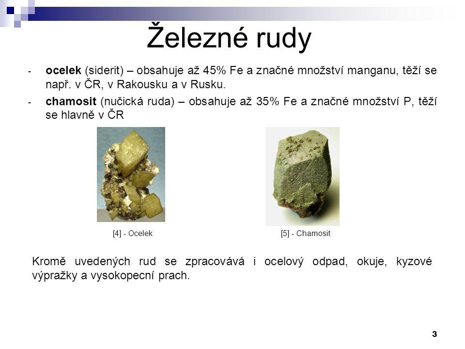 3 Železné rudy - ocelek (siderit) – obsahuje až 45% Fe a značné množství manganu, těží se např.