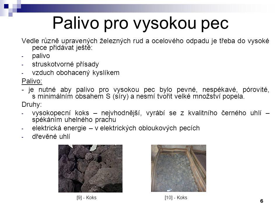 6 Palivo pro vysokou pec Vedle různě upravených železných rud a ocelového odpadu je třeba do vysoké pece přidávat ještě: - palivo - struskotvorné přísady - vzduch obohacený kyslíkem Palivo: - je nutné aby palivo pro vysokou pec bylo pevné, nespékavé, pórovité, s minimálním obsahem S (síry) a nesmí tvořit velké množství popela.