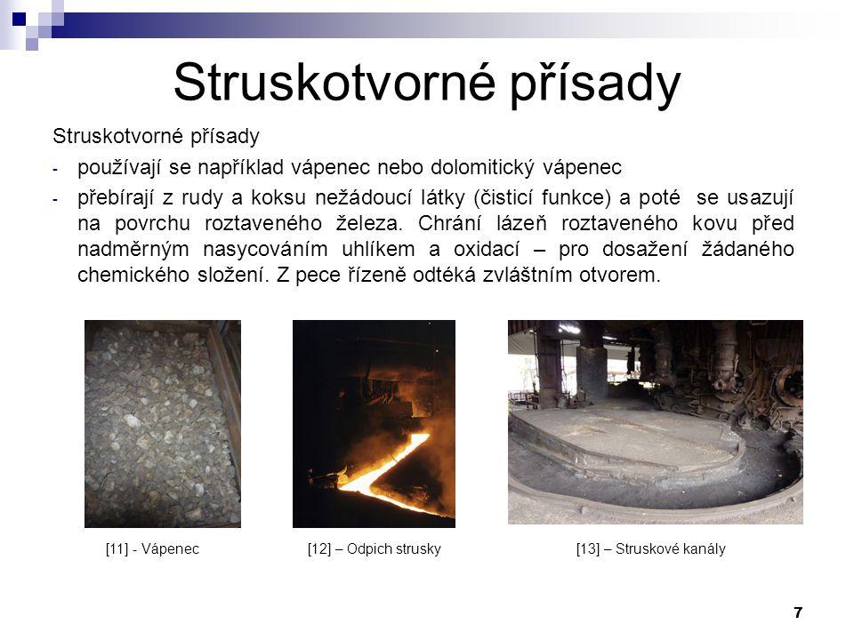 7 Struskotvorné přísady - používají se například vápenec nebo dolomitický vápenec - přebírají z rudy a koksu nežádoucí látky (čisticí funkce) a poté se usazují na povrchu roztaveného železa.