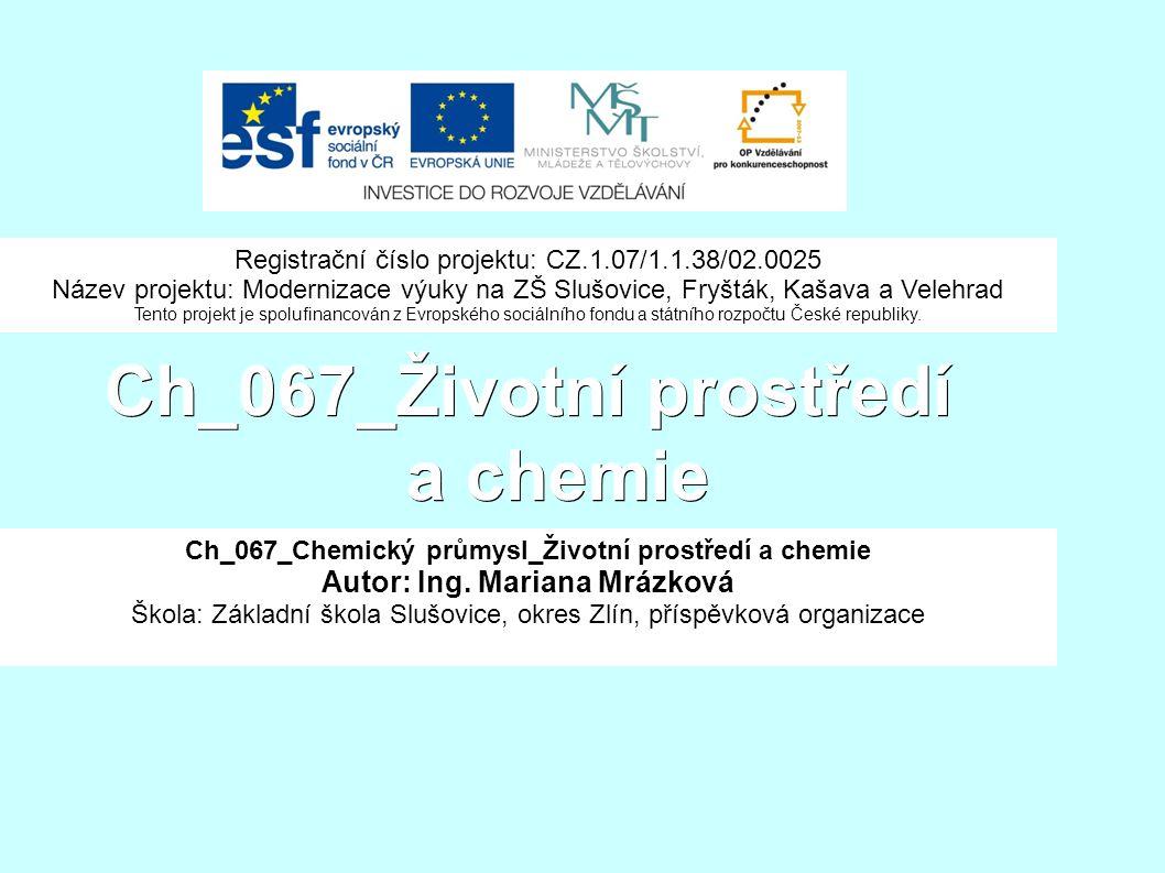 Ch_067_Životní prostředí a chemie Ch_067_Chemický průmysl_Životní prostředí a chemie Autor: Ing.