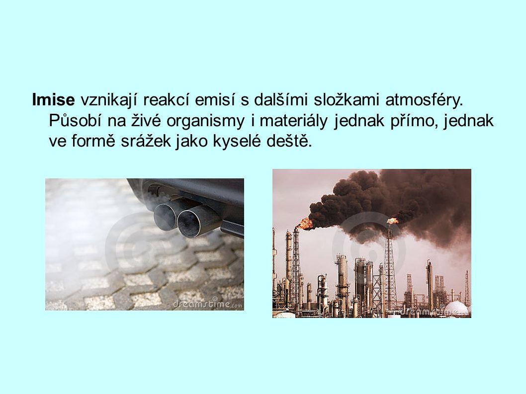 Imise vznikají reakcí emisí s dalšími složkami atmosféry.