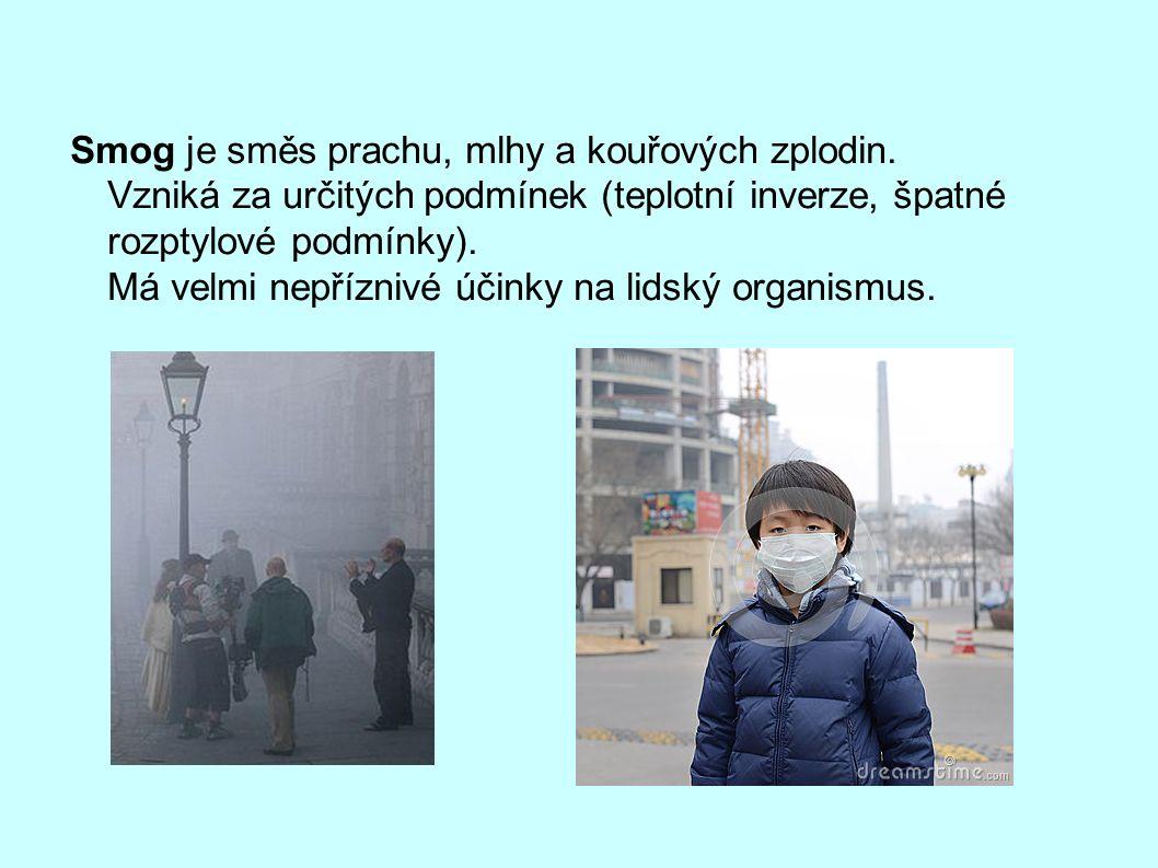 Smog je směs prachu, mlhy a kouřových zplodin.