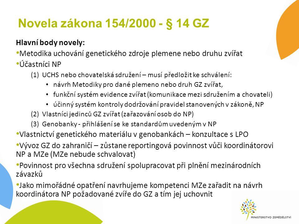 Novela zákona 154/2000 - § 14 GZ Hlavní body novely: Metodika uchování genetického zdroje plemene nebo druhu zvířat Účastníci NP (1)UCHS nebo chovatel