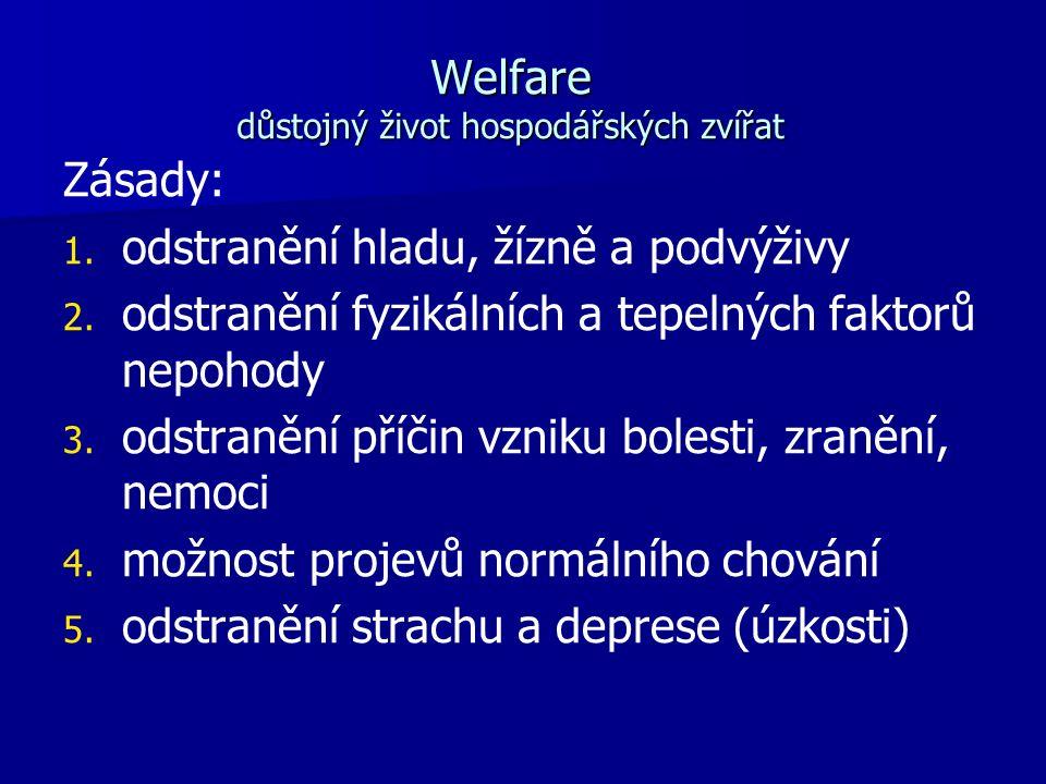 Welfare důstojný život hospodářských zvířat Zásady: 1.