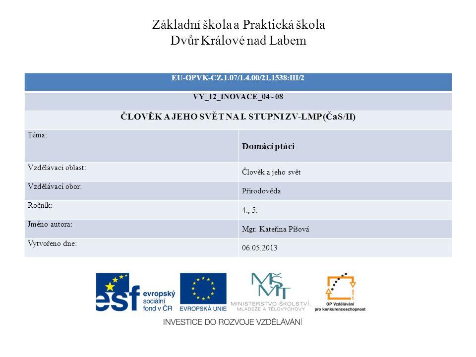 Základní škola a Praktická škola Dvůr Králové nad Labem EU-OPVK-CZ.1.07/1.4.00/21.1538:III/2 VY_12_INOVACE_04 - 08 ČLOVĚK A JEHO SVĚT NA I. STUPNI ZV-