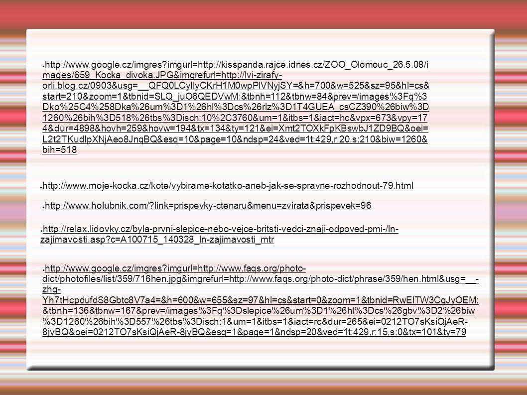 ● http://www.google.cz/imgres imgurl=http://kisspanda.rajce.idnes.cz/ZOO_Olomouc_26.5.08/i mages/659_Kocka_divoka.JPG&imgrefurl=http://lvi-zirafy- orli.blog.cz/0903&usg=__QFQ0LCyIlyCKrH1M0wpPlVNyjSY=&h=700&w=525&sz=95&hl=cs& start=210&zoom=1&tbnid=SLQ_juO6QEDVwM:&tbnh=112&tbnw=84&prev=/images%3Fq%3 Dko%25C4%258Dka%26um%3D1%26hl%3Dcs%26rlz%3D1T4GUEA_csCZ390%26biw%3D 1260%26bih%3D518%26tbs%3Disch:10%2C3760&um=1&itbs=1&iact=hc&vpx=673&vpy=17 4&dur=4898&hovh=259&hovw=194&tx=134&ty=121&ei=Xmt2TOXkFpKBswbJ1ZD9BQ&oei= L2t2TKudIpXNjAeo8JnqBQ&esq=10&page=10&ndsp=24&ved=1t:429,r:20,s:210&biw=1260& bih=518 ● http://www.moje-kocka.cz/kote/vybirame-kotatko-aneb-jak-se-spravne-rozhodnout-79.html ● http://www.holubnik.com/ link=prispevky-ctenaru&menu=zvirata&prispevek=96 ● http://relax.lidovky.cz/byla-prvni-slepice-nebo-vejce-britsti-vedci-znaji-odpoved-pmi-/ln- zajimavosti.asp c=A100715_140328_ln-zajimavosti_mtr ● http://www.google.cz/imgres imgurl=http://www.faqs.org/photo- dict/photofiles/list/359/716hen.jpg&imgrefurl=http://www.faqs.org/photo-dict/phrase/359/hen.html&usg=__- zhg- Yh7tHcpdufdS8Gbtc8V7a4=&h=600&w=655&sz=97&hl=cs&start=0&zoom=1&tbnid=RwElTW3CgJyOEM: &tbnh=136&tbnw=167&prev=/images%3Fq%3Dslepice%26um%3D1%26hl%3Dcs%26gbv%3D2%26biw %3D1260%26bih%3D557%26tbs%3Disch:1&um=1&itbs=1&iact=rc&dur=265&ei=0212TO7sKsiQjAeR- 8jyBQ&oei=0212TO7sKsiQjAeR-8jyBQ&esq=1&page=1&ndsp=20&ved=1t:429,r:15,s:0&tx=101&ty=79