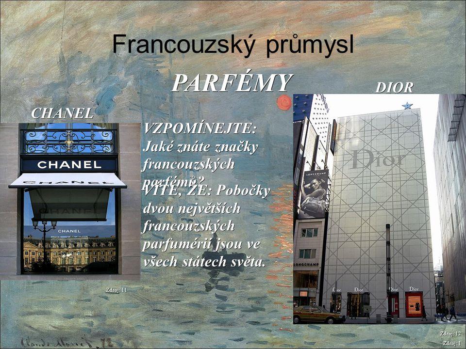 Francouzský průmysl Zdroj: 1 PARFÉMY Zdroj: 11 CHANEL VZPOMÍNEJTE: Jaké znáte značky francouzských parfémů? VÍTE, ŽE: Pobočky dvou největších francouz