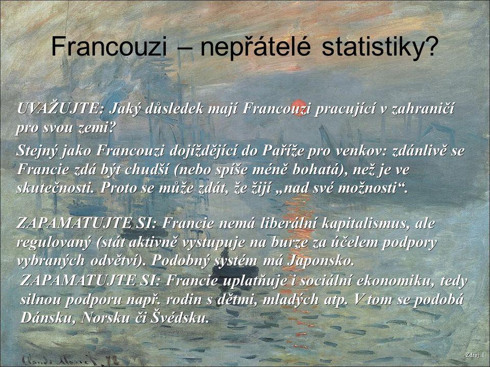 Francouzi – nepřátelé statistiky? Zdroj: 1 UVAŽUJTE: Jaký důsledek mají Francouzi pracující v zahraničí pro svou zemi? Stejný jako Francouzi dojíždějí