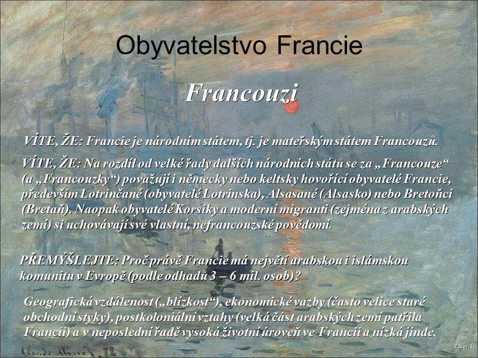 Obyvatelstvo Francie Zdroj: 1 Francouzi VÍTE, ŽE: Francie je národním státem, tj. je mateřským státem Francouzů. PŘEMÝŠLEJTE: Proč právě Francie má ne
