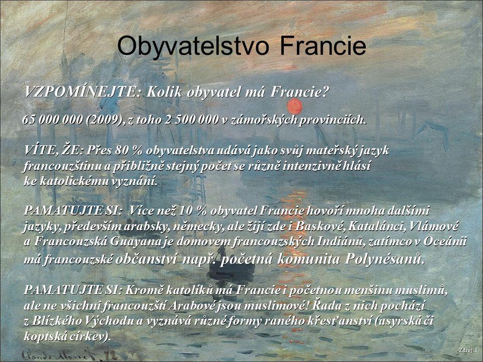 Obyvatelstvo Francie Zdroj: 1 VZPOMÍNEJTE: Kolik obyvatel má Francie? PAMATUJTE SI: Více než 10 % obyvatel Francie hovoří mnoha dalšími jazyky, předev