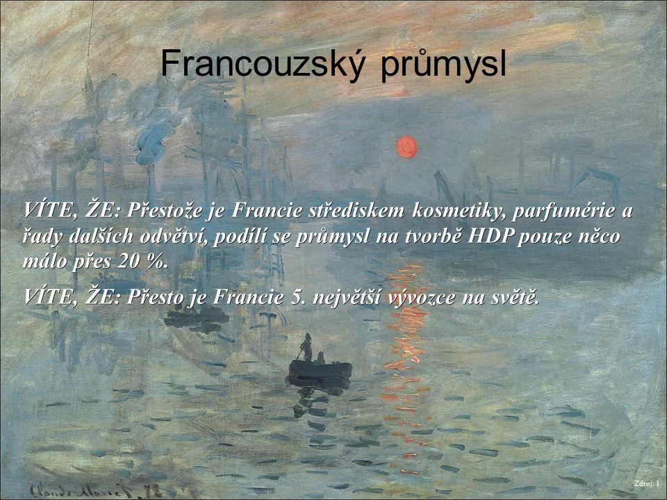 Francouzský průmysl Zdroj: 1 VÍTE, ŽE: Přestože je Francie střediskem kosmetiky, parfumérie a řady dalších odvětví, podílí se průmysl na tvorbě HDP po
