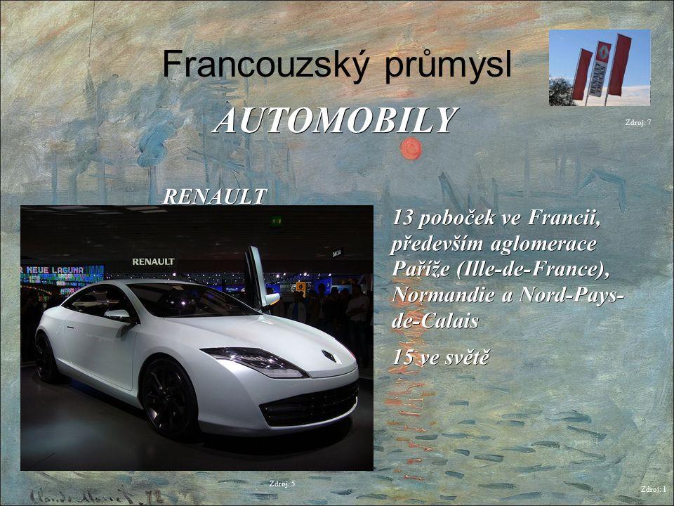 Francouzský průmysl Zdroj: 1 AUTOMOBILY Zdroj: 6 PSA (PEUGEOT CITROËN) 6 poboček ve Francii, především IIle-de- France, Nord-Pays-de- Calais, Bretagne a Alsasko 16 ve světě Zdroj: 8