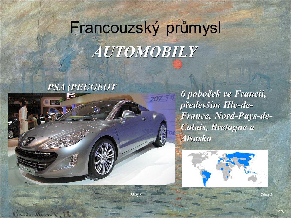 Francouzský průmysl Zdroj: 1 AUTOMOBILY Zdroj: 6 PSA (PEUGEOT CITROËN) 6 poboček ve Francii, především IIle-de- France, Nord-Pays-de- Calais, Bretagne