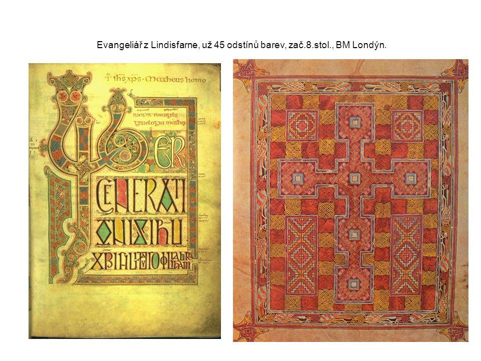 Evangeliář z Lindisfarne, už 45 odstínů barev, zač.8.stol., BM Londýn.