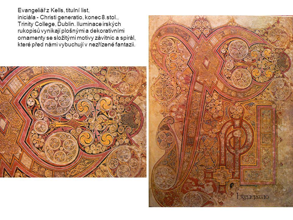 Evangeliář z Kells, titulní list, iniciála - Christi generatio, konec 8.stol., Trinity College, Dublin. Iluminace irských rukopisů vynikají plošnými a