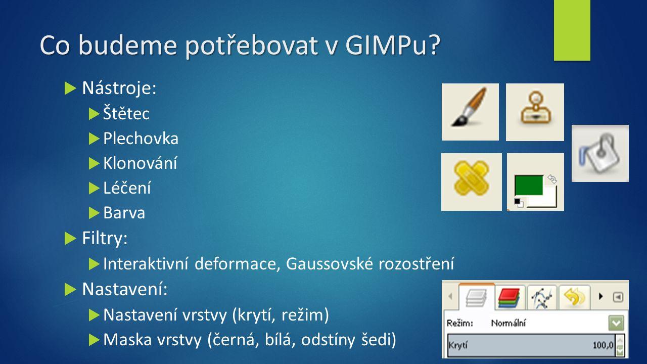 Co budeme potřebovat v GIMPu.