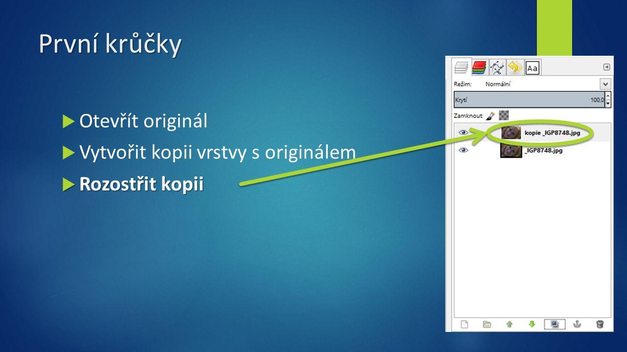 První krůčky  Otevřít originál  Vytvořit kopii vrstvy s originálem  Rozostřit kopii