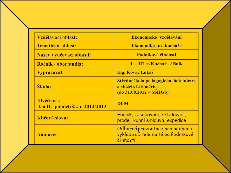 Vzdělávací oblast: Ekonomické vzdělávání Tematická oblast: Ekonomika pro kuchaře Název vyučovací oblasti: Podnikové činnosti Ročník / obor studia: I.