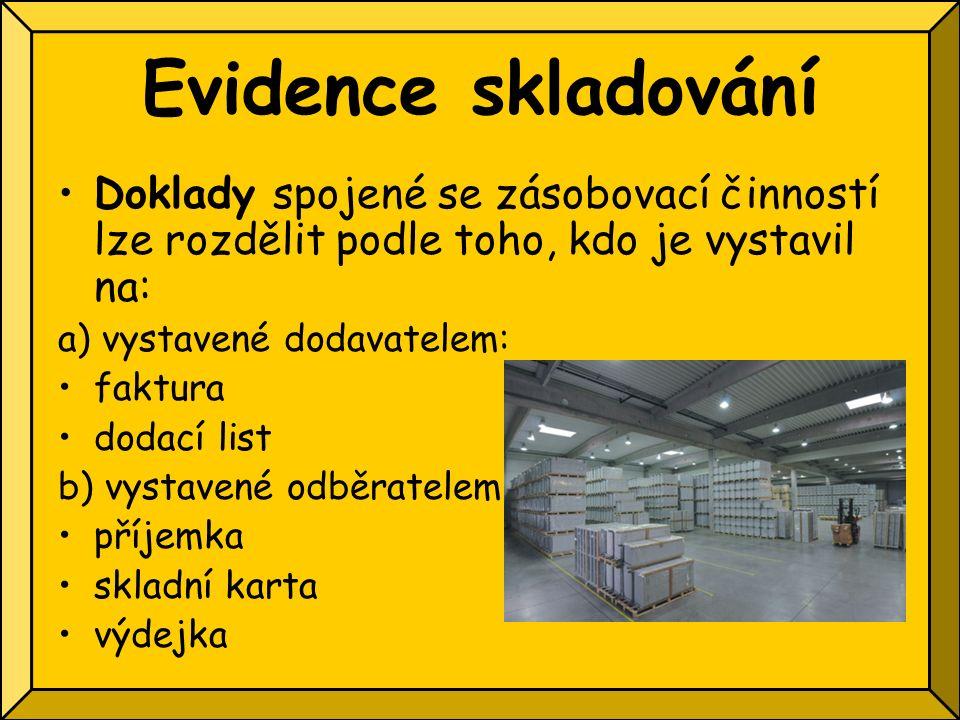 Evidence skladování Doklady spojené se zásobovací činností lze rozdělit podle toho, kdo je vystavil na: a) vystavené dodavatelem: faktura dodací list b) vystavené odběratelem: příjemka skladní karta výdejka