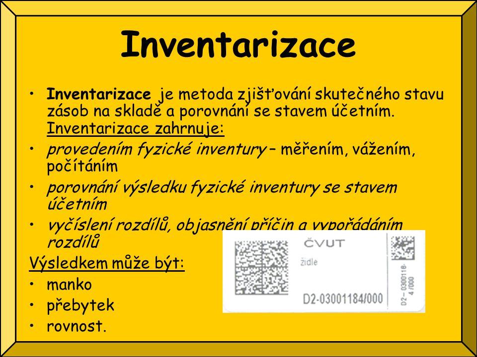 Inventarizace Inventarizace je metoda zjišťování skutečného stavu zásob na skladě a porovnání se stavem účetním. Inventarizace zahrnuje: provedením fy