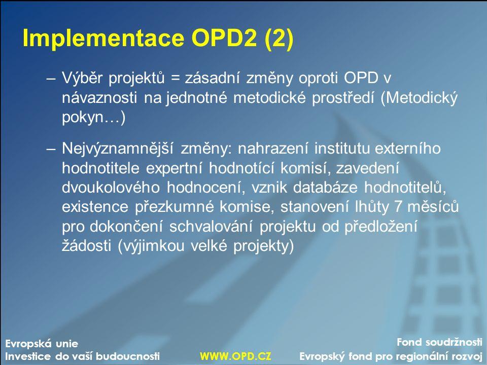 Fond soudržnosti Evropský fond pro regionální rozvoj Evropská unie Investice do vaší budoucnosti WWW.OPD.CZ Implementace OPD2 (2) –Výběr projektů = zásadní změny oproti OPD v návaznosti na jednotné metodické prostředí (Metodický pokyn…) –Nejvýznamnější změny: nahrazení institutu externího hodnotitele expertní hodnotící komisí, zavedení dvoukolového hodnocení, vznik databáze hodnotitelů, existence přezkumné komise, stanovení lhůty 7 měsíců pro dokončení schvalování projektu od předložení žádosti (výjimkou velké projekty)