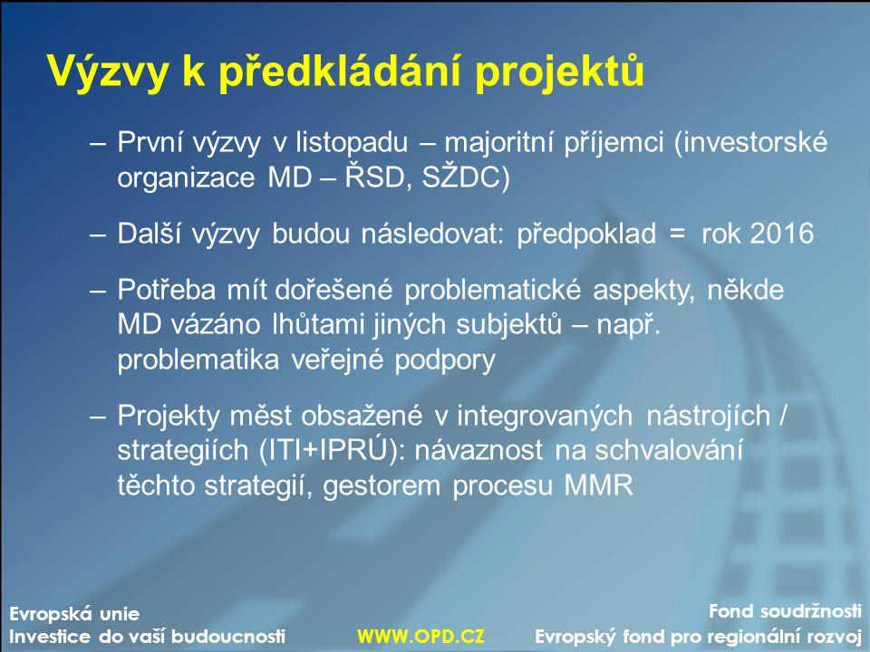 Fond soudržnosti Evropský fond pro regionální rozvoj Evropská unie Investice do vaší budoucnosti WWW.OPD.CZ Výzvy k předkládání projektů –První výzvy v listopadu – majoritní příjemci (investorské organizace MD – ŘSD, SŽDC) –Další výzvy budou následovat: předpoklad = rok 2016 –Potřeba mít dořešené problematické aspekty, někde MD vázáno lhůtami jiných subjektů – např.