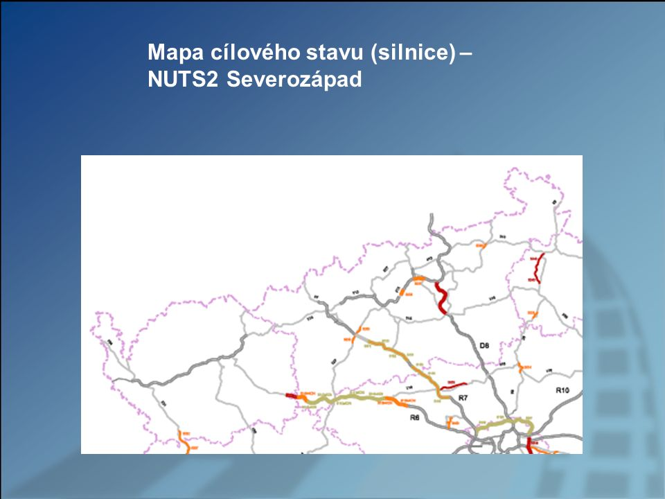 Mapa cílového stavu (silnice) – NUTS2 Severozápad
