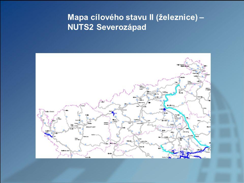 Mapa cílového stavu II (železnice) – NUTS2 Severozápad