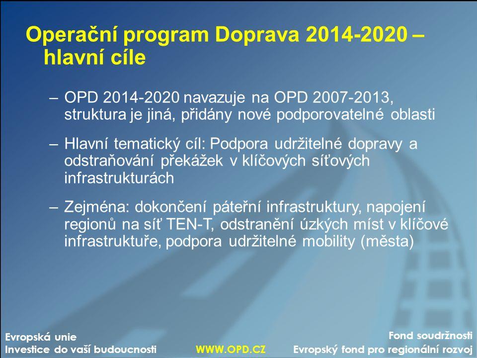 Fond soudržnosti Evropský fond pro regionální rozvoj Evropská unie Investice do vaší budoucnosti WWW.OPD.CZ Operační program Doprava 2014-2020 – hlavní cíle –OPD 2014-2020 navazuje na OPD 2007-2013, struktura je jiná, přidány nové podporovatelné oblasti –Hlavní tematický cíl: Podpora udržitelné dopravy a odstraňování překážek v klíčových síťových infrastrukturách –Zejména: dokončení páteřní infrastruktury, napojení regionů na síť TEN-T, odstranění úzkých míst v klíčové infrastruktuře, podpora udržitelné mobility (města)
