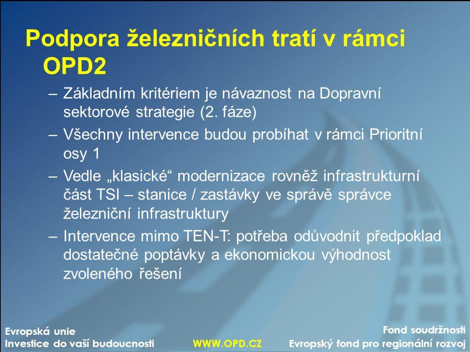 Fond soudržnosti Evropský fond pro regionální rozvoj Evropská unie Investice do vaší budoucnosti WWW.OPD.CZ Podpora železničních tratí v rámci OPD2 –Základním kritériem je návaznost na Dopravní sektorové strategie (2.