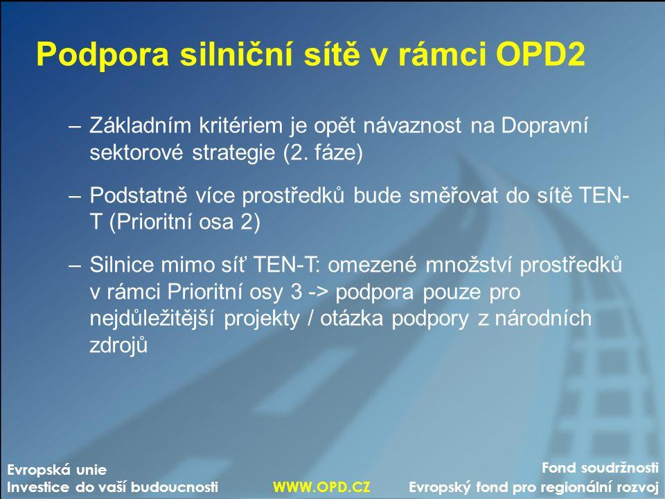 Fond soudržnosti Evropský fond pro regionální rozvoj Evropská unie Investice do vaší budoucnosti WWW.OPD.CZ Podpora silniční sítě v rámci OPD2 –Základ