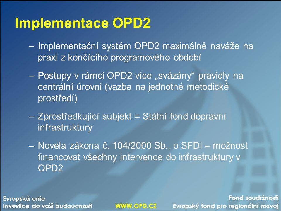 """Fond soudržnosti Evropský fond pro regionální rozvoj Evropská unie Investice do vaší budoucnosti WWW.OPD.CZ Implementace OPD2 –Implementační systém OPD2 maximálně naváže na praxi z končícího programového období –Postupy v rámci OPD2 více """"svázány pravidly na centrální úrovni (vazba na jednotné metodické prostředí) –Zprostředkující subjekt = Státní fond dopravní infrastruktury –Novela zákona č."""