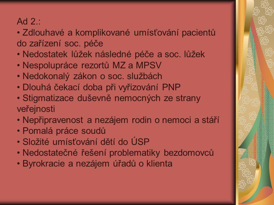 Ad 2.: Zdlouhavé a komplikované umísťování pacientů do zařízení soc.