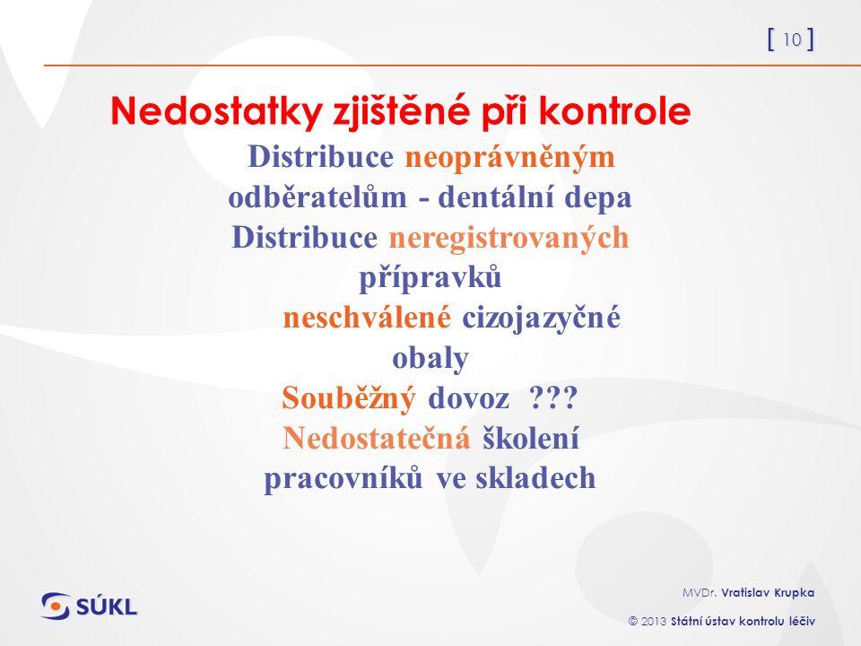 [ 10 ] MVDr. Vratislav Krupka © 2013 Státní ústav kontrolu léčiv Nedostatky zjištěné při kontrole Distribuce neoprávněným odběratelům - dentální depa