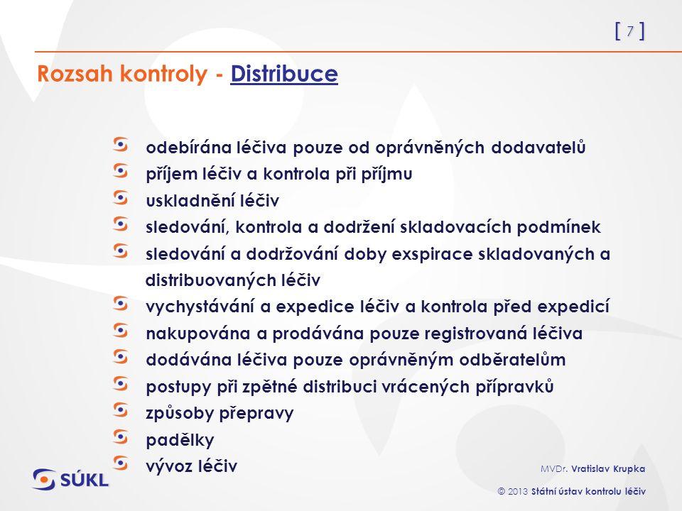 [ 7 ] MVDr. Vratislav Krupka © 2013 Státní ústav kontrolu léčiv Rozsah kontroly - Distribuce odebírána léčiva pouze od oprávněných dodavatelů příjem l