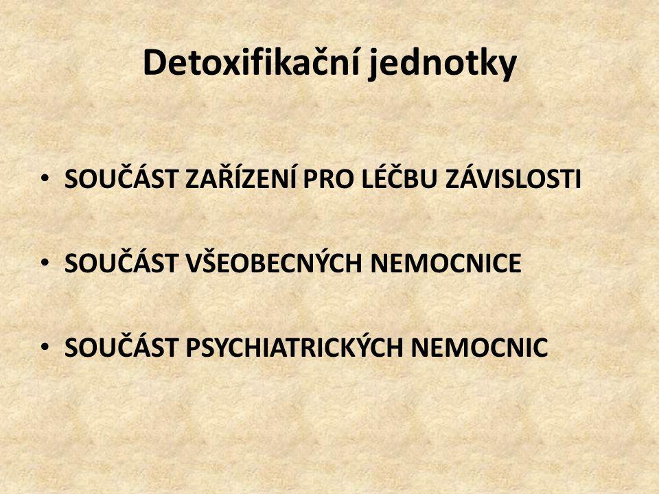 Detoxifikační jednotky SOUČÁST ZAŘÍZENÍ PRO LÉČBU ZÁVISLOSTI SOUČÁST VŠEOBECNÝCH NEMOCNICE SOUČÁST PSYCHIATRICKÝCH NEMOCNIC