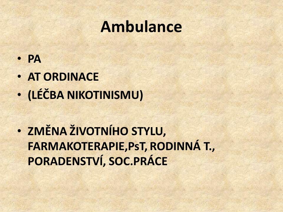Ambulance PA AT ORDINACE (LÉČBA NIKOTINISMU) ZMĚNA ŽIVOTNÍHO STYLU, FARMAKOTERAPIE,PsT, RODINNÁ T., PORADENSTVÍ, SOC.PRÁCE