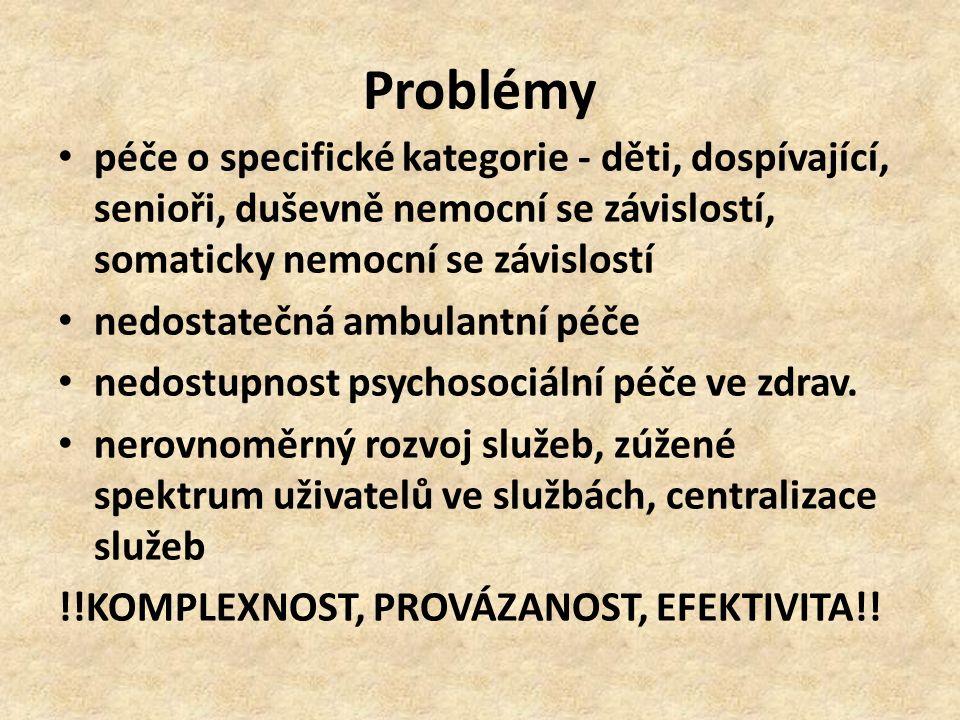 Problémy péče o specifické kategorie - děti, dospívající, senioři, duševně nemocní se závislostí, somaticky nemocní se závislostí nedostatečná ambulan