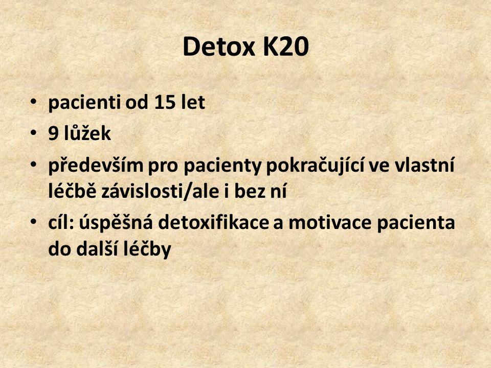 Detox K20 pacienti od 15 let 9 lůžek především pro pacienty pokračující ve vlastní léčbě závislosti/ale i bez ní cíl: úspěšná detoxifikace a motivace pacienta do další léčby