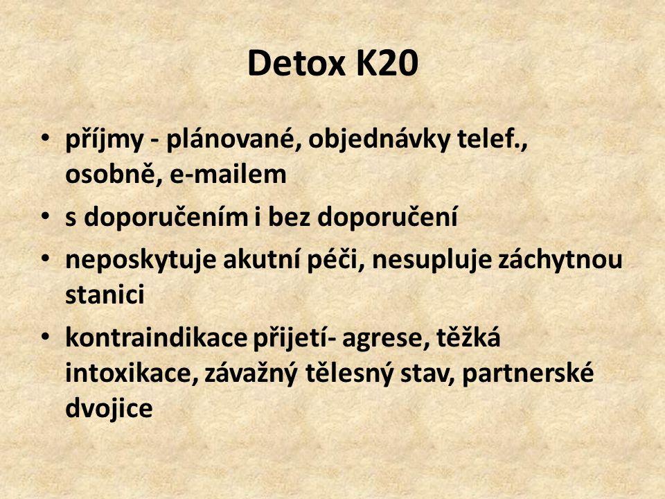 Detox K20 příjmy - plánované, objednávky telef., osobně, e-mailem s doporučením i bez doporučení neposkytuje akutní péči, nesupluje záchytnou stanici kontraindikace přijetí- agrese, těžká intoxikace, závažný tělesný stav, partnerské dvojice