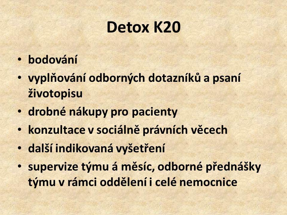 Detox K20 bodování vyplňování odborných dotazníků a psaní životopisu drobné nákupy pro pacienty konzultace v sociálně právních věcech další indikovaná vyšetření supervize týmu á měsíc, odborné přednášky týmu v rámci oddělení i celé nemocnice