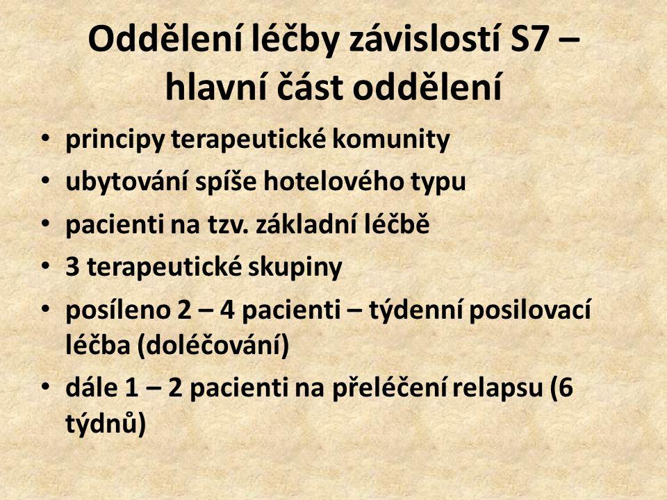 Oddělení léčby závislostí S7 – hlavní část oddělení principy terapeutické komunity ubytování spíše hotelového typu pacienti na tzv. základní léčbě 3 t